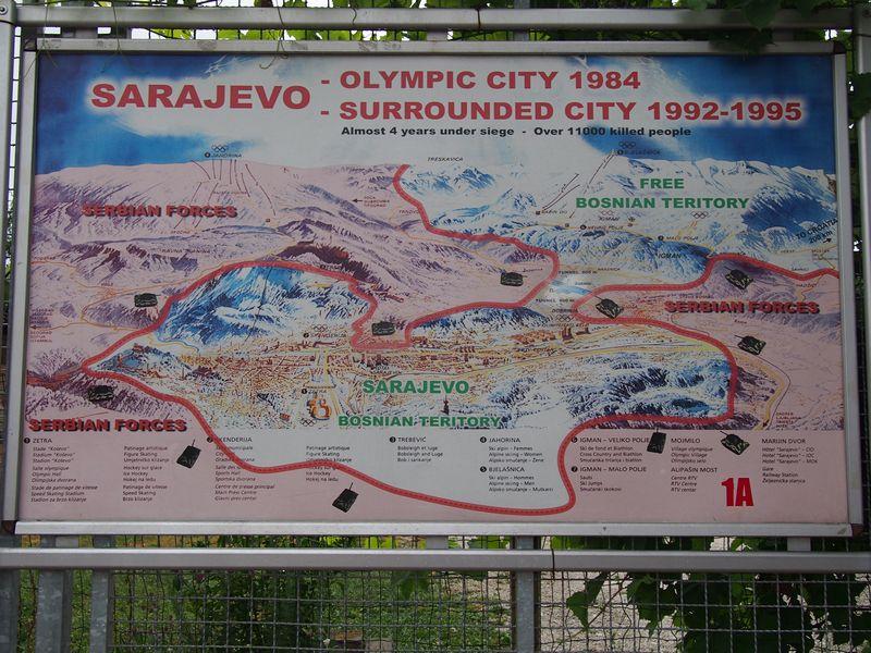 Túnel da Esperança em Sarajevo na Bósnia e Herzegovina - Mapa do Cerco de Sarajevo